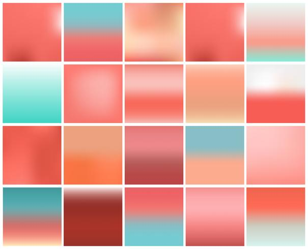 Mega pack of 20 blurred abstract background. Pastel tone color collection set. Wallpaper and Texture concept. Popular pantone trend for year 2019 vector