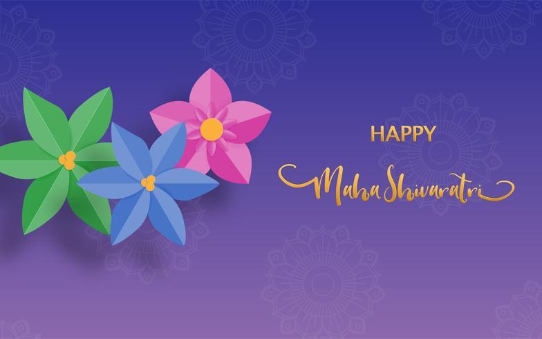 Glad Maha Shivaratri eller Night of Shiva festivalsferie med blomma. Traditionellt event tema. vektor