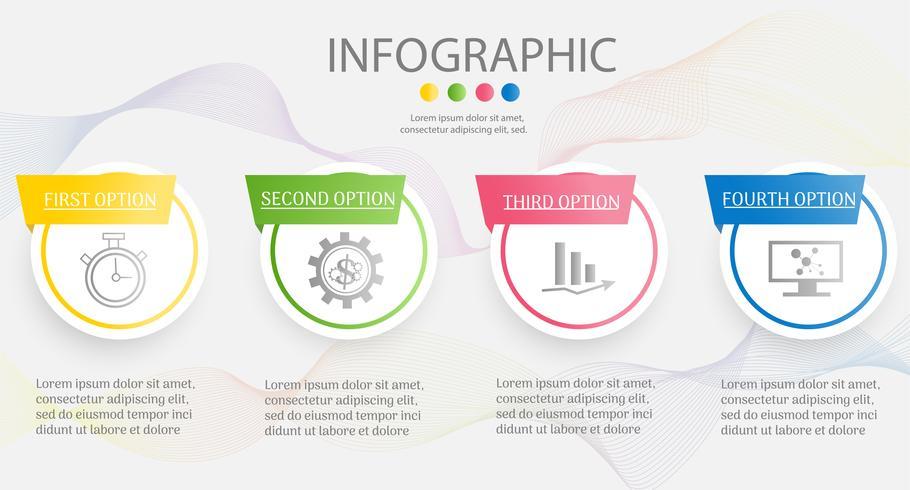 Diseñe el elemento infographic de la carta de los pasos de la plantilla 4 del negocio con la fecha para las presentaciones, vector EPS10 del lugar.