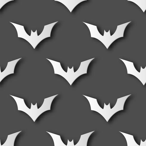 Seamless Halloween bat paper art pattern background. Grey color for happy Halloween day decorating card and gift wrapping concept. Cute graphic design vector