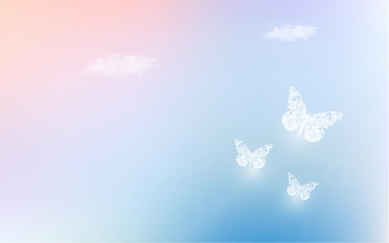 Fantasie, die Himmel mit niedrigen Polyschmetterlingen im Pastellfarbhintergrund träumt. Hologrammhimmelregenbogen und magische bunte cloudscape Tapete. für Einladungsbrief-Kartengrafikdesign des Naturkonzeptes