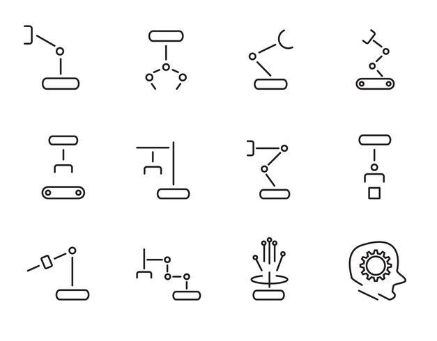 Vecteur de jeu d'icônes de bras robot. Notion de signe et symbole Concept de technologie et d'ingénierie. Thème d'icônes fine ligne. Fond blanc isolé Illustration vecteur