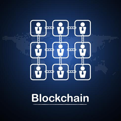Blockchain technology businessman fintech cryptocurrency block chain company server abstract background. Linked block contain cryptography hash and transaction data. New futuristic system technology