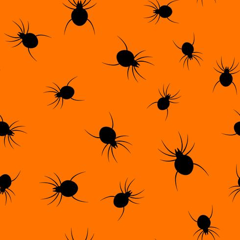 Seamless Halloween spider paper art pattern background. Orange color for happy Halloween day decorating card and gift wrapping concept. Spooky bug graphic design vector