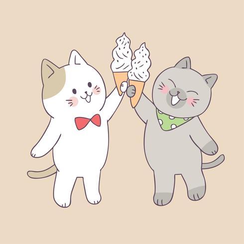 Cartoon cute summer cats and ice cream vector.