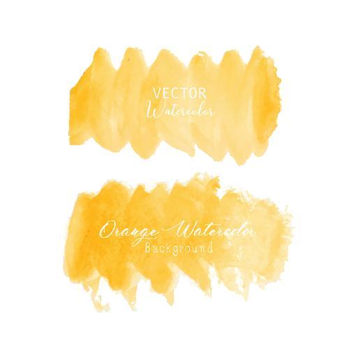 Acuarela anaranjada del movimiento del cepillo en el fondo blanco. Ilustracion vectorial