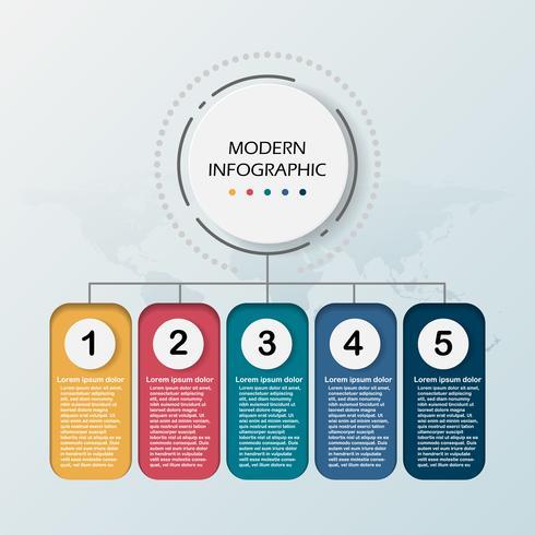 Modelo moderno de infográfico 3d abstrato. Círculo de negócios com opções para diagrama de fluxo de trabalho de apresentação. Cinco etapas de sucesso. Tema de cronograma de árvore de habilidade. Ilustração vetorial EPS 10