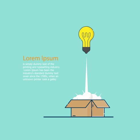 denk buiten de doos concept lamp idee lancering van vak vector