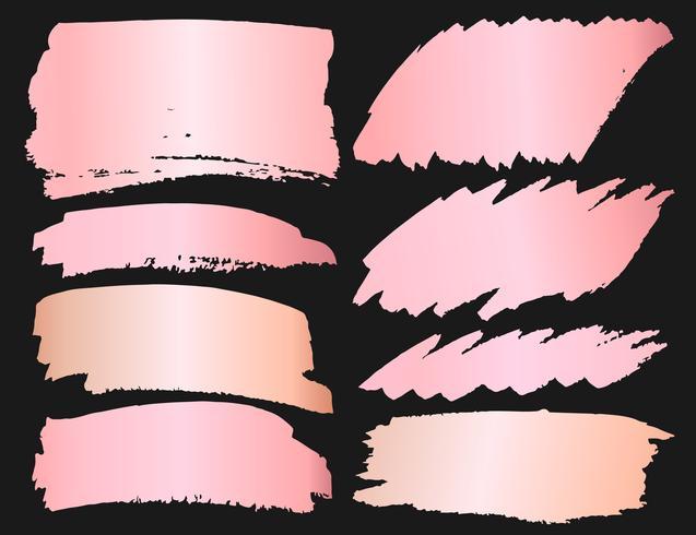 Set of brush stroke, Pink gold grunge brush strokes. Vector illustration.