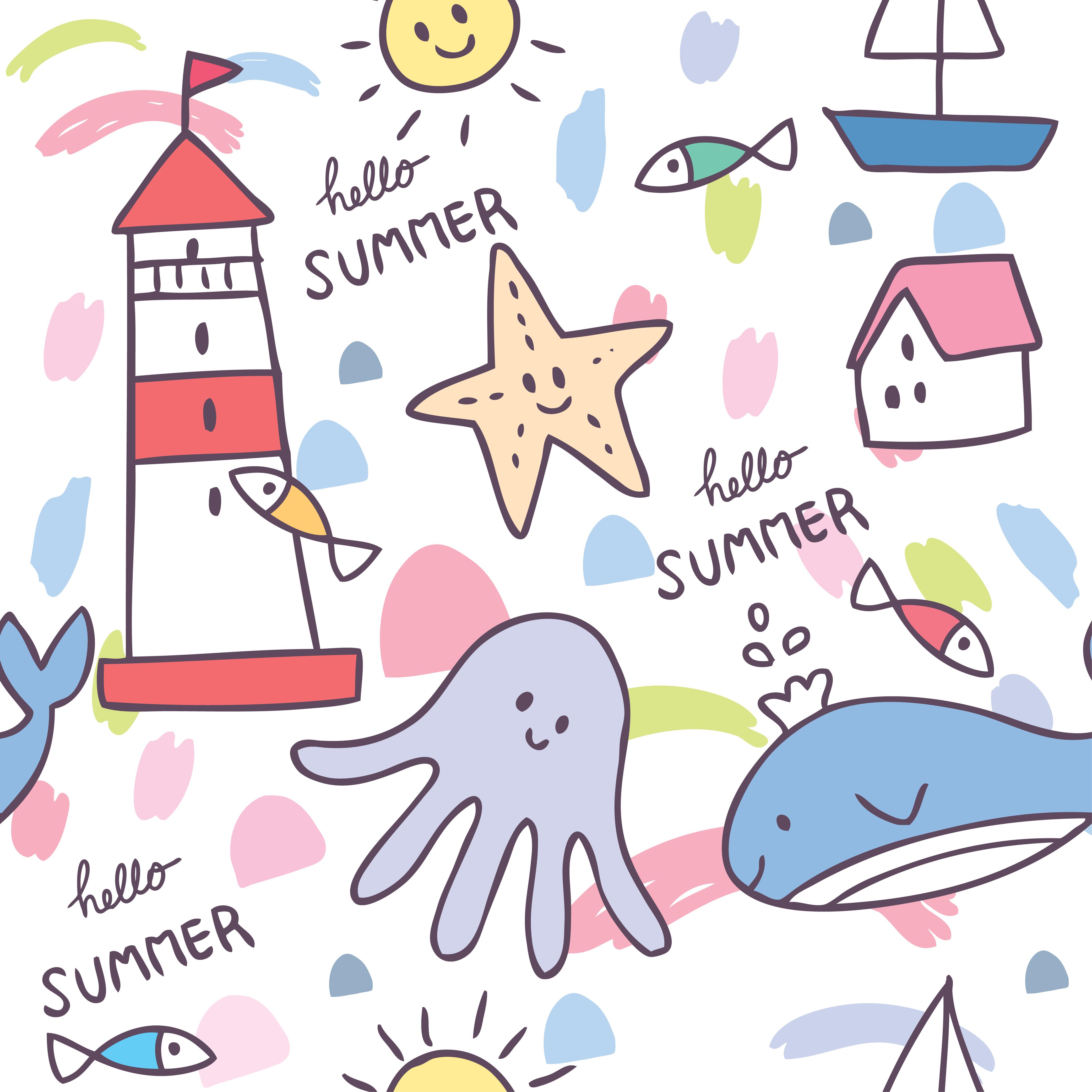 Cartoon cute summer sea animal seamless pattern vector ...