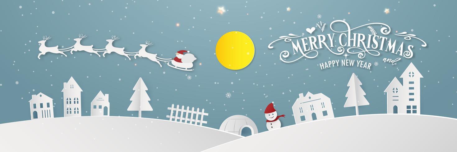 A noite nevado do dia da cidade do Feliz Natal e o ano novo feliz do Xmas do festival do ano terminam a silhueta Santa Claus e fundo do papel de parede do sumário do cartão da decoração dos cervos. Vector design gráfico