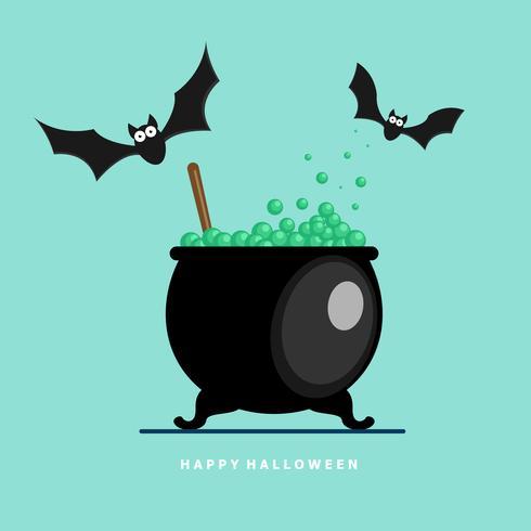 felice pipistrello di halloween con pozione di ebollizione vettore