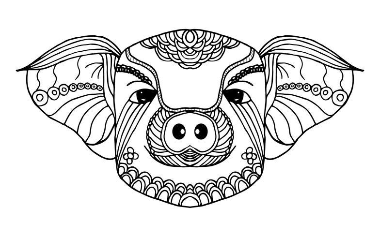 Dessin Au Trait Zodiacal De Porc Concept Dessiné Et Animal