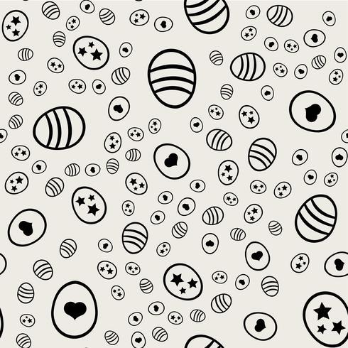Patrón de fondo sin fisuras Concepto abstracto y clásico. Tema elegante diseño creativo geométrico. Ilustración vectorial Color blanco y negro. Huevo de Pascua con forma de corazón para el día de Pascua