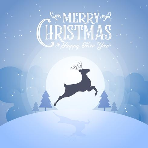 Merry Christmas snowy night and happy new year festival end year party silhouette deer and blue text calligraphy decoration greeting card abstract wallpaper background. Xmas day graphic design vector