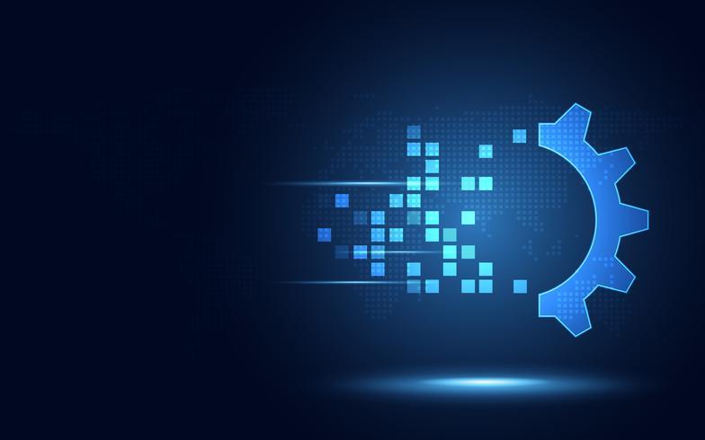Fondo digitale di tecnologia dell'estratto di trasformazione dell'ingranaggio blu futuristico. Intelligenza artificiale e concetto di big data. Business growth computer and investment industry 4.0. Illustrazione vettoriale