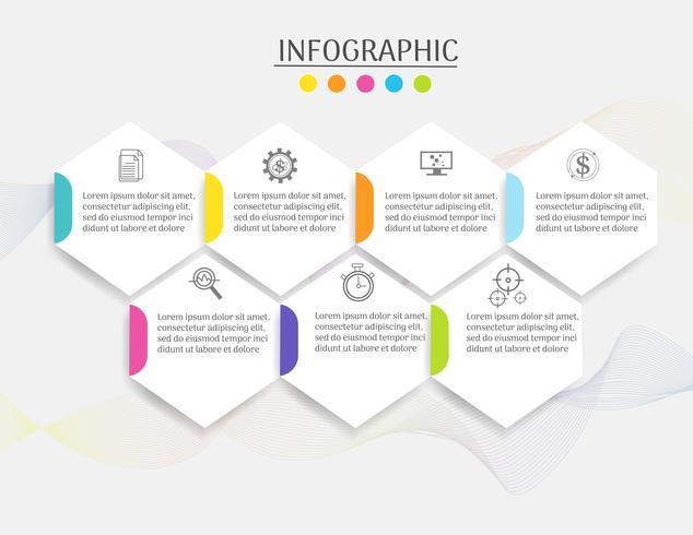 La plantilla del diseño 7 pasos del elemento infographic de la carta con la fecha del lugar para las presentaciones, vector EPS10.