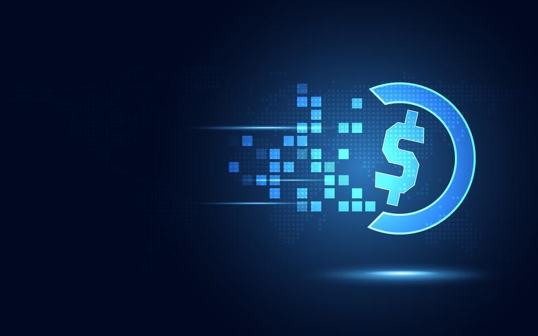 Fondo azul futurista de la tecnología del extracto de la transformación de la moneda del dólar de EE. UU. Tecnología moderna y concepto de big data. Negocio de crecimiento informático e inversión innovadora. Ilustración vectorial vector