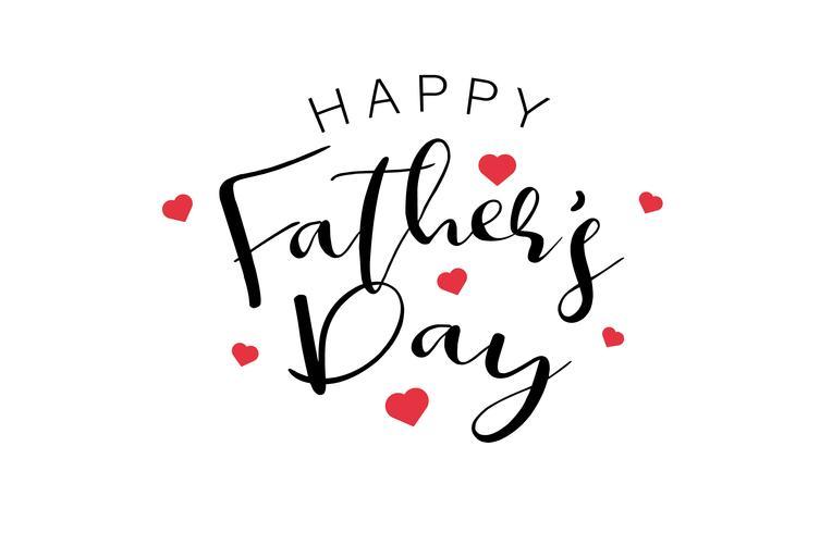 Feliz día de padres texto de caligrafía con mini corazones rojos. Vacaciones y decoración palabra y concepto de citas. Ilustración vectorial