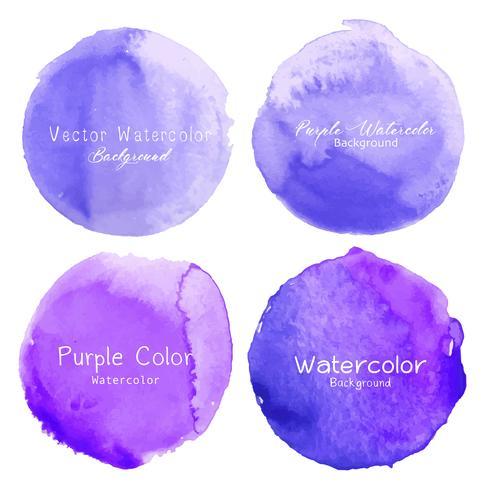 Purpurroter Aquarellkreis eingestellt auf weißen Hintergrund. Vektor-illustration