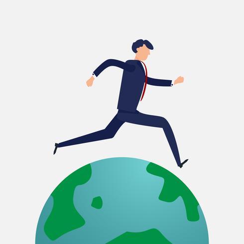 Homme d'affaires courant dans le monde entier. Design plat et concept de design de caractère. Thème des entreprises et des personnes.