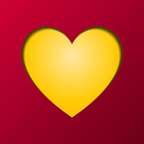 Happy Valentines Day greeting card vector. Yellow heart in middle component. Love and Couple concept. Post card and Paper artwork theme.