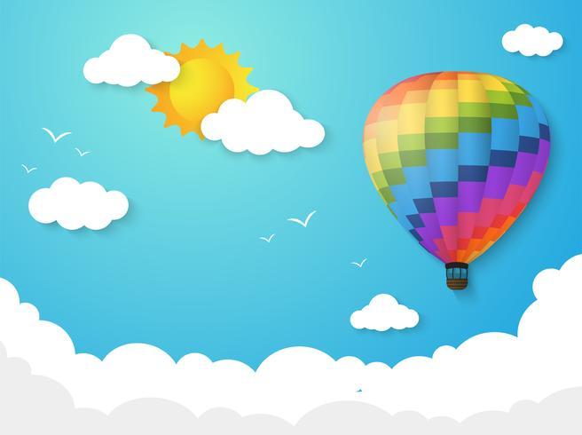 Balão colorido que flutua no céu com o sol da manhã. ilustração vetorial.