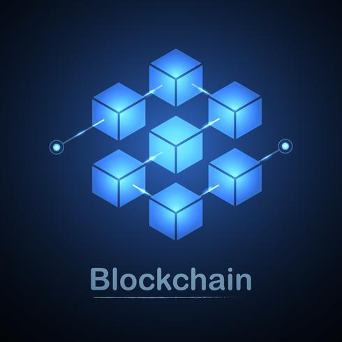 Blockchain technology fintech cryptocurrency block chain server abstract background. Linked block contain cryptography hash and transaction data. New futuristic system technology. Vector illustration.