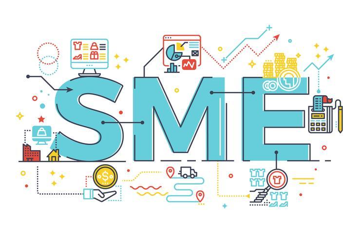 MKB, kleine en middelgrote onderneming, woordbelettering illustratie