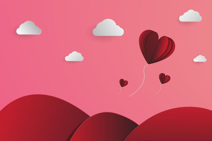 Heart-shape balloons papercut in the sky, Landscape papercut vector,  for valentines'day and any events