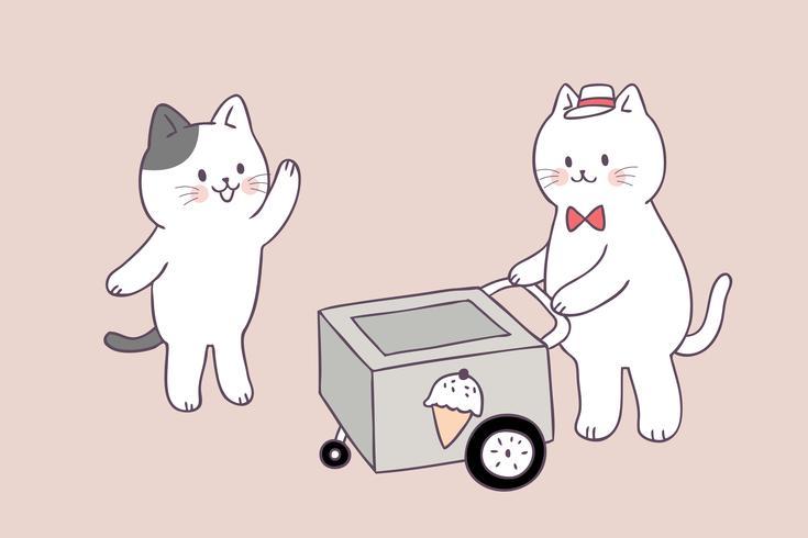 Cartone animato carino estate gatti e gelato vettoriale.