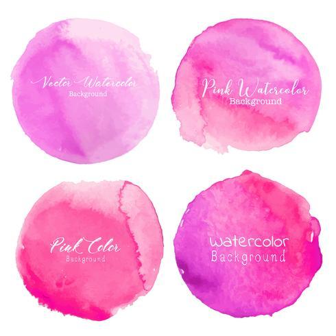 Círculo cor-de-rosa da aguarela ajustado no fundo branco. Ilustração vetorial