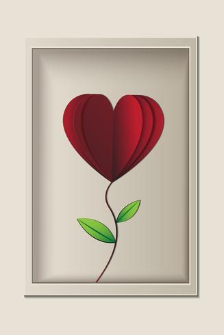 Rode roos ziet eruit als hartvorm in het frame, papercut vector