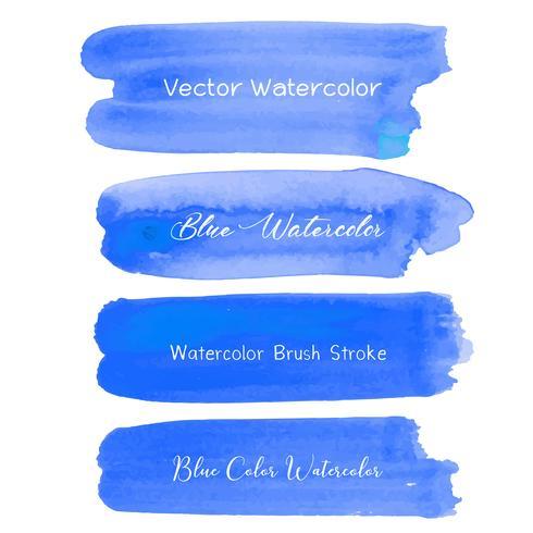 Acuarela azul del movimiento del cepillo en el fondo blanco. Ilustracion vectorial vector