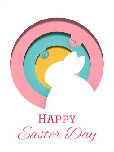 Glad påskdagen hälsningskort illustration vektor. Kanin och påskägg i komposition. Holiday and Artwork koncept. Djur i papperstema.