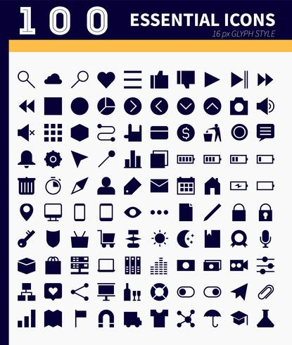 Essential web,app icons vector