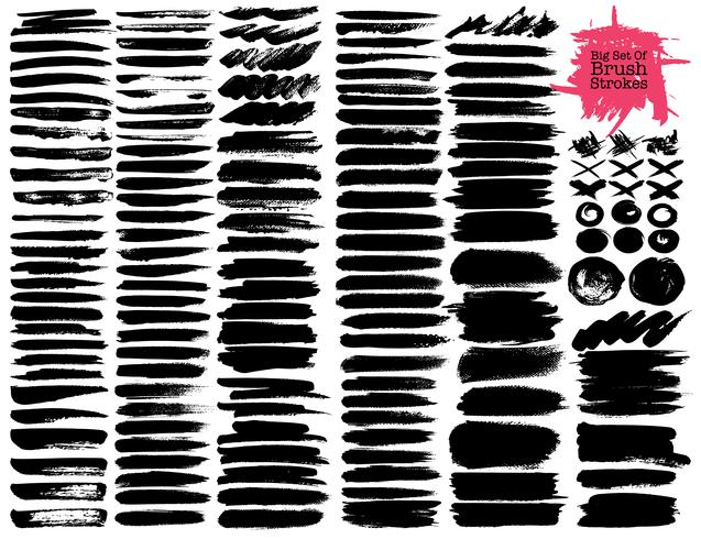 Big set of brush strokes, Black ink grunge brush strokes. Vector illustration.