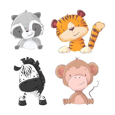 Conjunto de guaxinim de filhote de tigre de macaco zebra. Estilo dos desenhos animados. Vetor