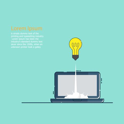 opstarten van bedrijven concept idee bol lancering van laptop