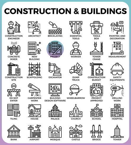 Bouw & gebouwen pictogrammen