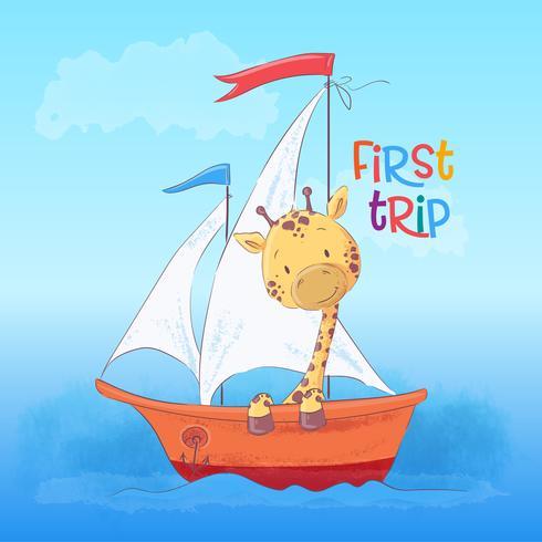 Vykort söt giraff som flyter på båten. Tecknad stil. Vektor
