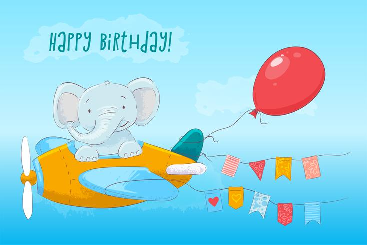 Carte postale bébé éléphant mignon volant dans un avion. Style de bande dessinée. Vecteur