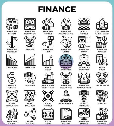 Icônes de la ligne finance