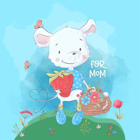 Postcard cute little mouse and flowers. Cartoon style. Vector