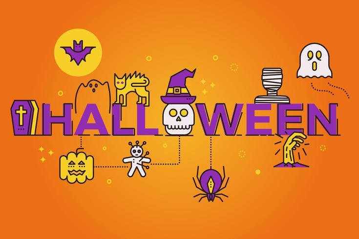 Ilustración de la palabra de Halloween vector