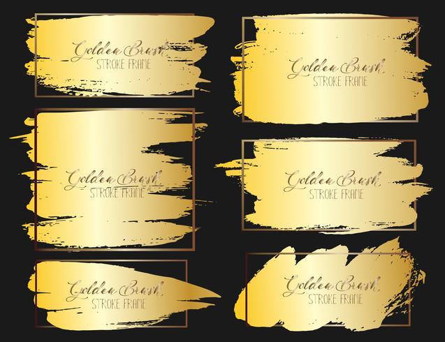 Conjunto de marco de trazo de pincel, pinceladas de oro grunge. Ilustracion vectorial vector