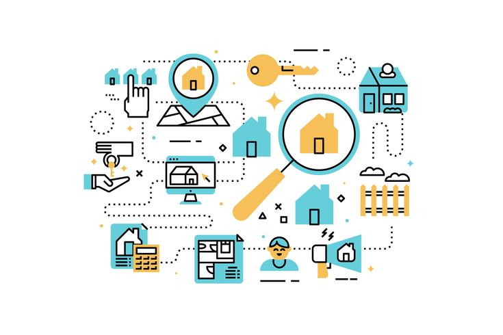 Real Estate line icons illustration vector