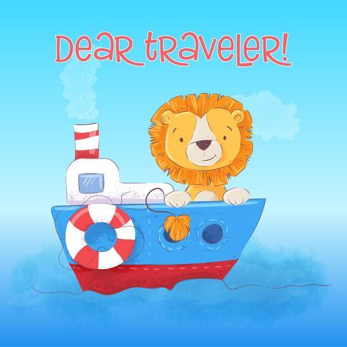Postcard cute lion cub floats on the boat. Cartoon style. Vector