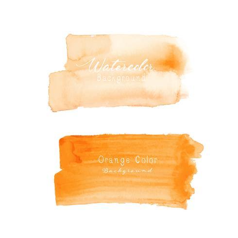 Orange brush stroke watercolor on white background. Vector illustration.