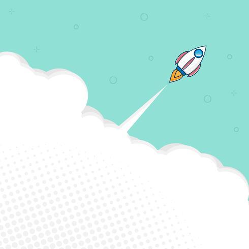 raketlancering met ruimte platte ontwerp vector achtergrond